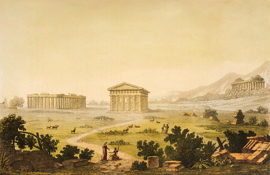 Italy Painting - View Of Temples In Paestum At Syracuse by Giulio Ferrario