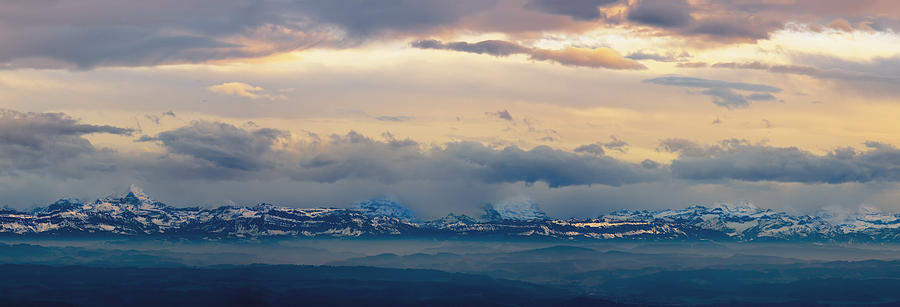 Cloud Photograph - View Of The Alpsjura Switzerland by Yves Marcoux