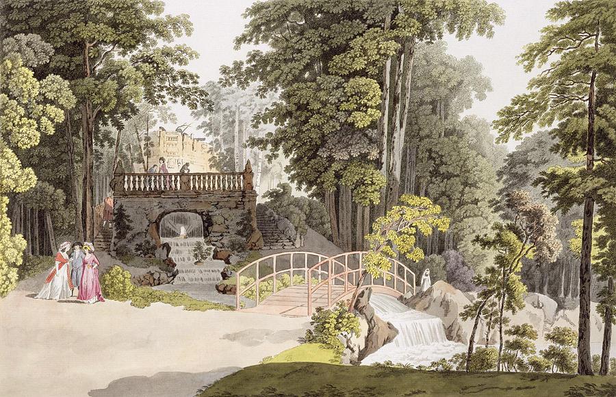 Garden Drawing - View Of The Cascade At Erlaw, Vienna by Laurenz Janscha