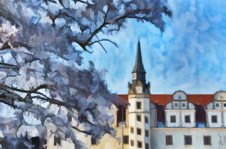 Oil Painting - View Of The Castle by Gynt