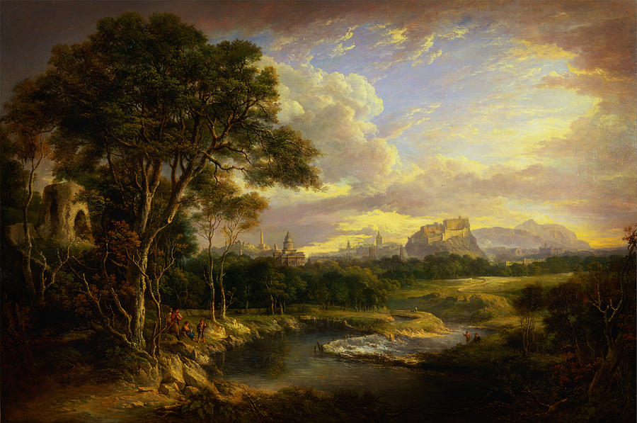 River Painting - View Of The City Of Edinburgh By Alexander Nasmyth by MotionAge Designs