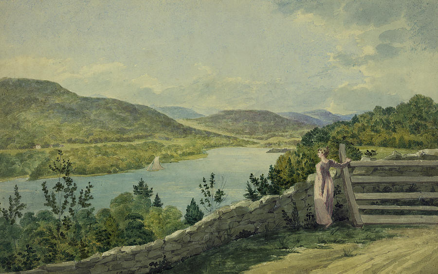 Watercolor Drawing - View Of The Hudson Circa 1817 by Aged Pixel