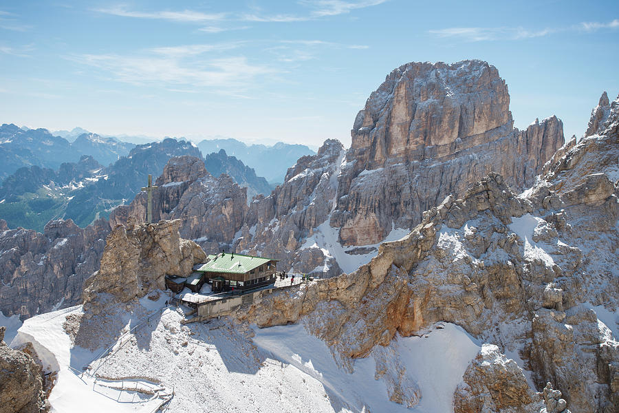 Winter Photograph - View Of The Rifugio Lorenzi At Forcella by Marcos Ferro