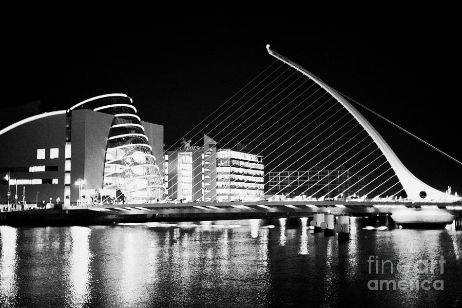 View Photograph - View Of The Samuel Beckett Bridge Over The River Liffey And The Convention Centre Dublin At Night Du by Joe Fox