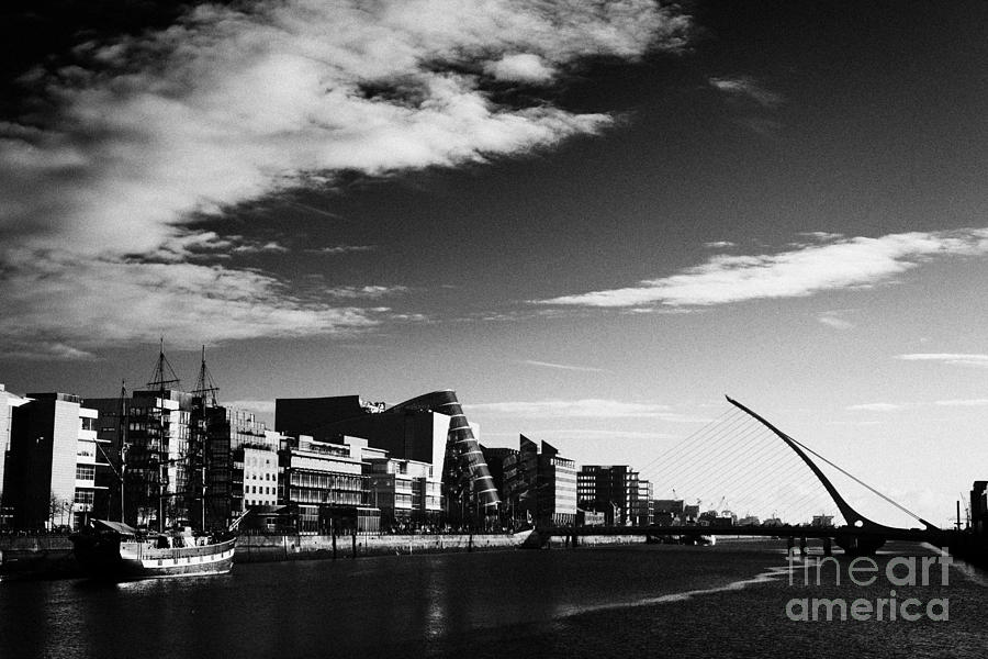 View Photograph - View Of The Samuel Beckett Bridge Over The River Liffey And The Convention Centre Dublin Republic Of by Joe Fox