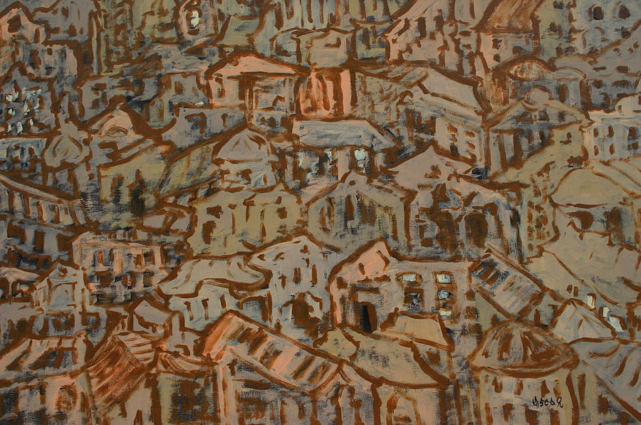 Abstract Painting - View Of The Town by Oscar Penalber