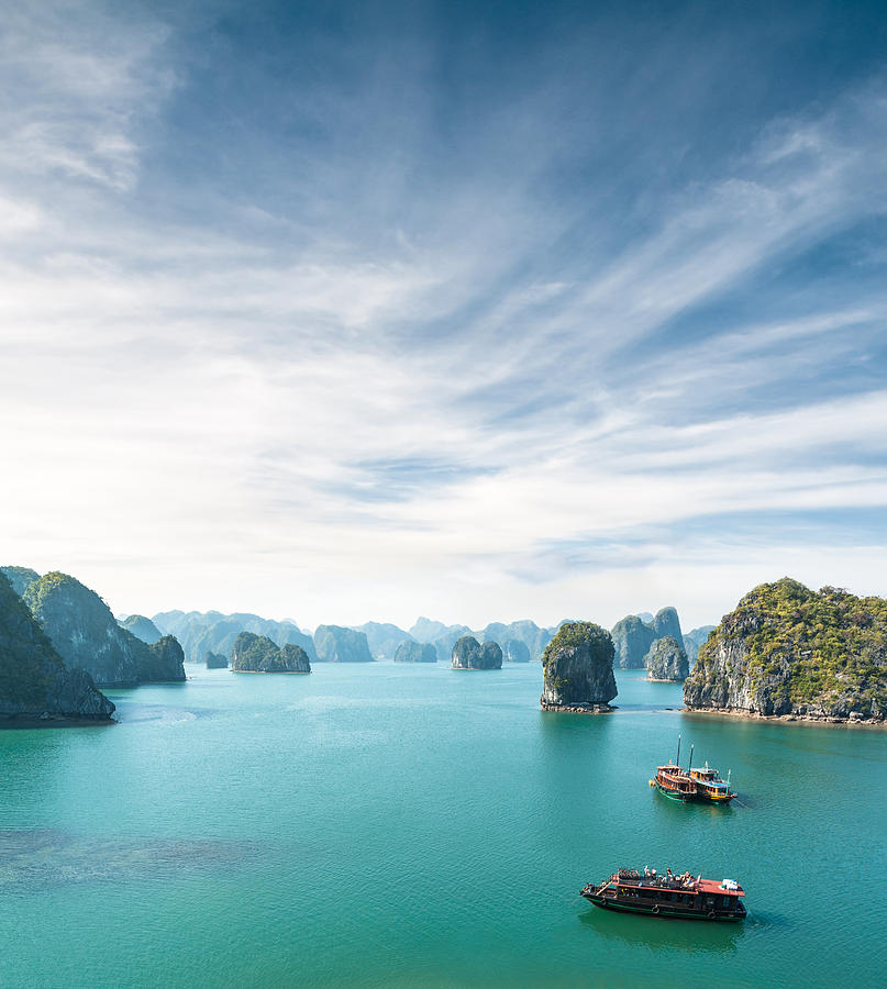 View Of Tourist Boats In Halong Bay, Vietnam Photograph by Tbradford
