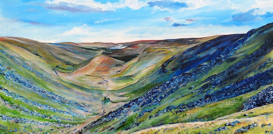 Landscape Painting - View Of Troutbeck From Stony Cove Pike The Lake District by Robina Osbourne