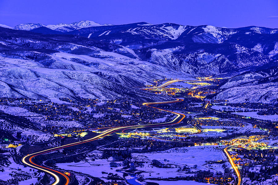 View Of Vail Valley At Sunset And Dusk Photograph by Adventure_Photo