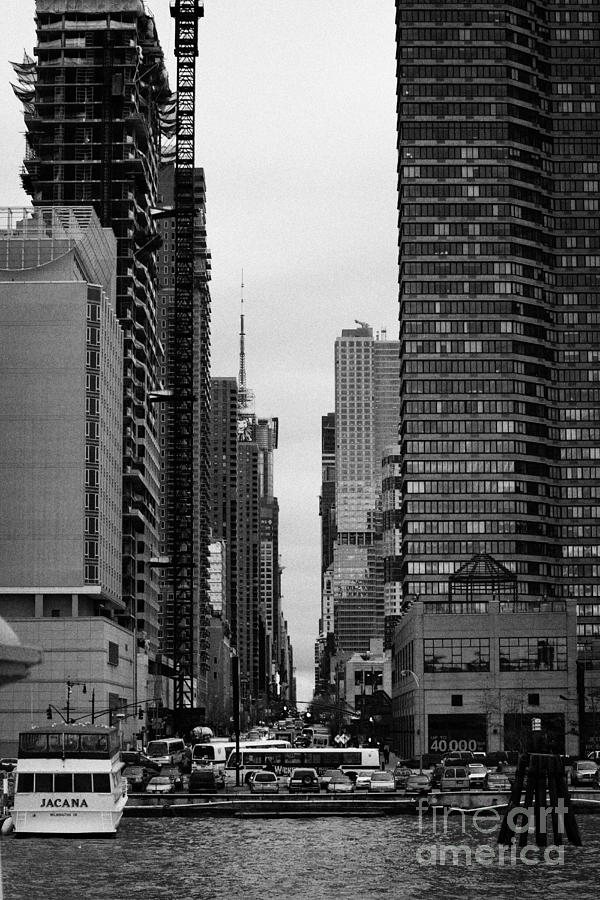 Usa Photograph - View Up West 42nd Street From The Hudson River New York City by Joe Fox
