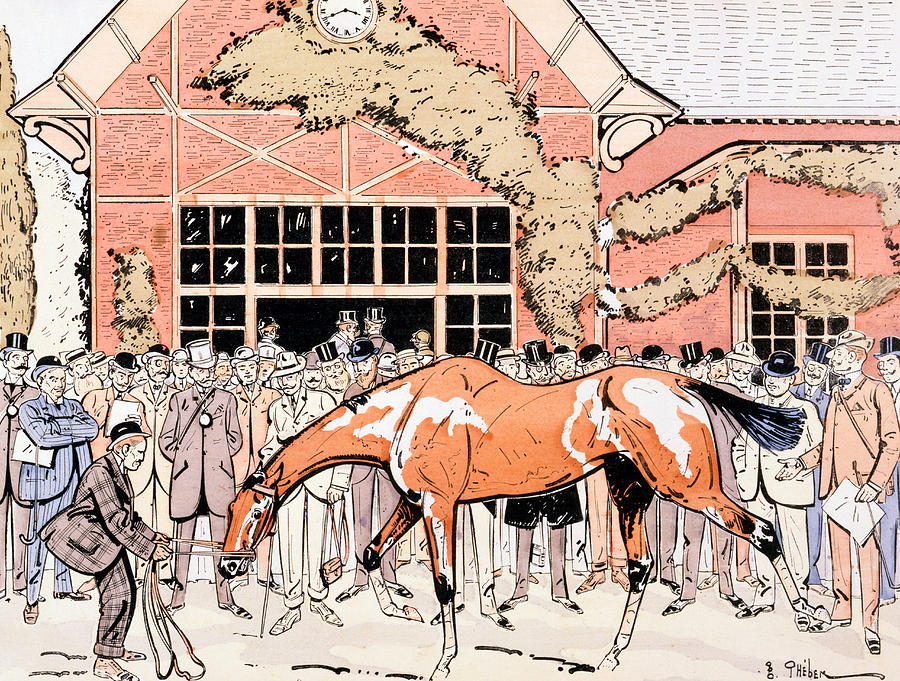 Thelem Painting - Viewing The Racehorse In The Paddock by Thelem