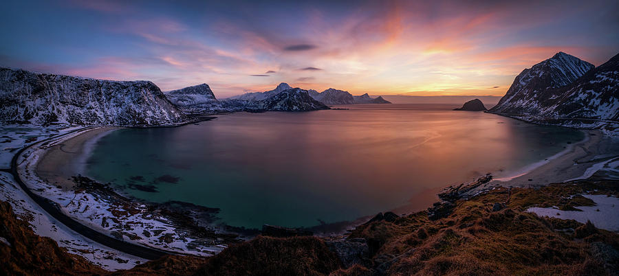 Horizontal Photograph - Vikbukta Bay With Vik And Haukland by Panoramic Images