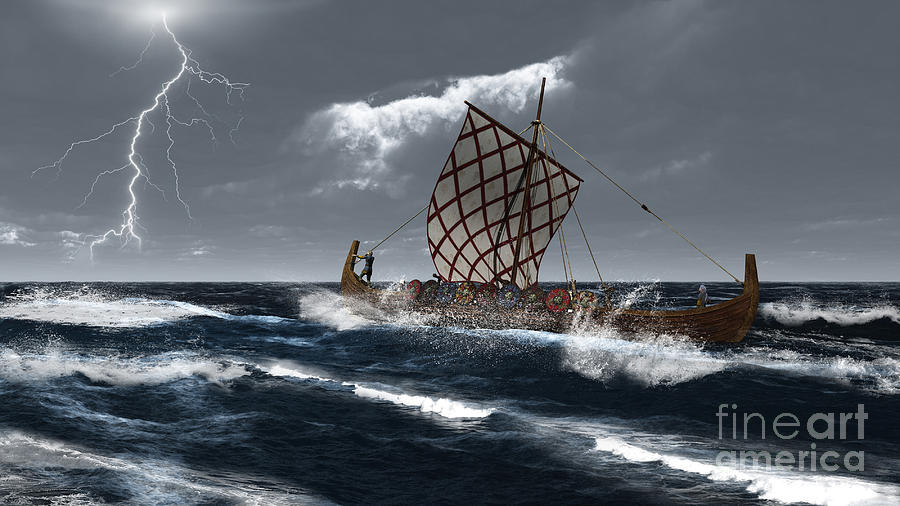 Viking Digital Art - Viking Longship In A Storm by Fairy Fantasies