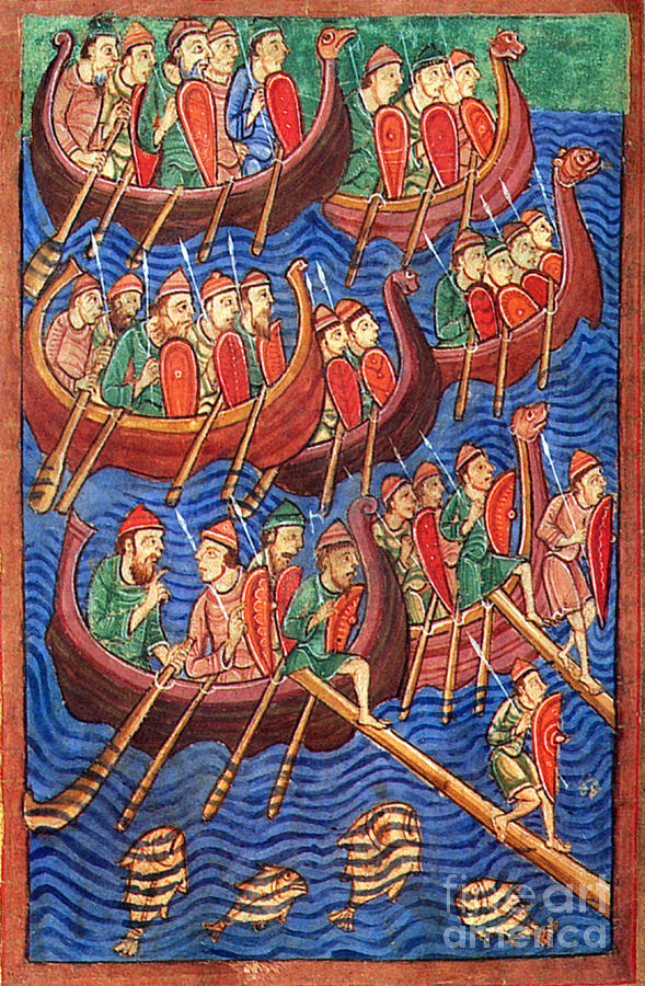 Navigation Photograph - Vikings Invade England 9th Century by Photo Researchers