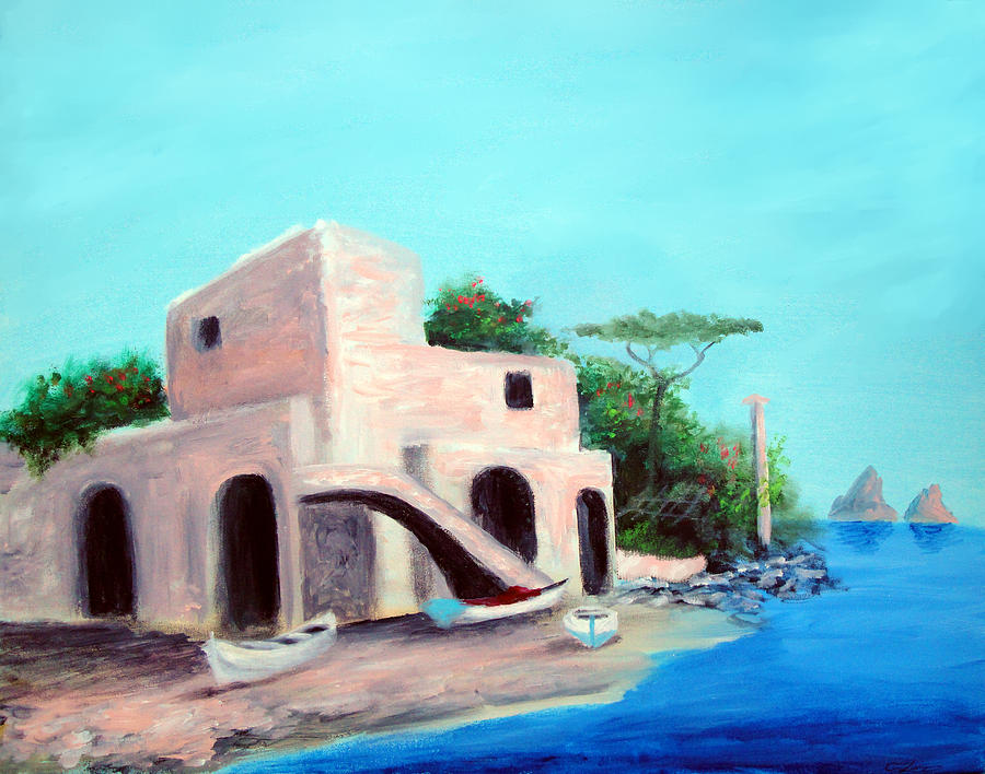 Capri Painting - Villa Capri by Larry Cirigliano