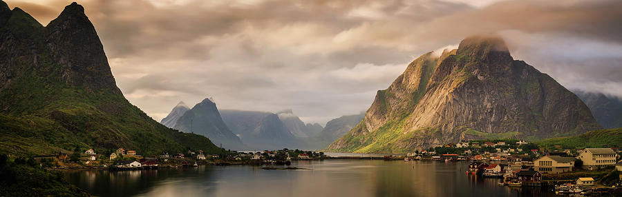 Horizontal Photograph - Village And Fjord Among Mountains by Panoramic Images