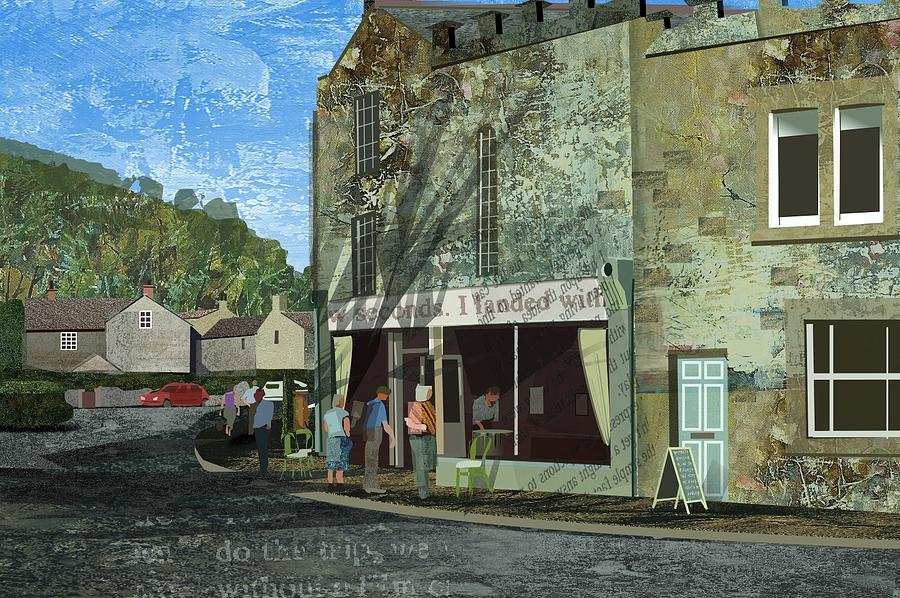 Village Life Painting - Village Cafe by Kenneth North