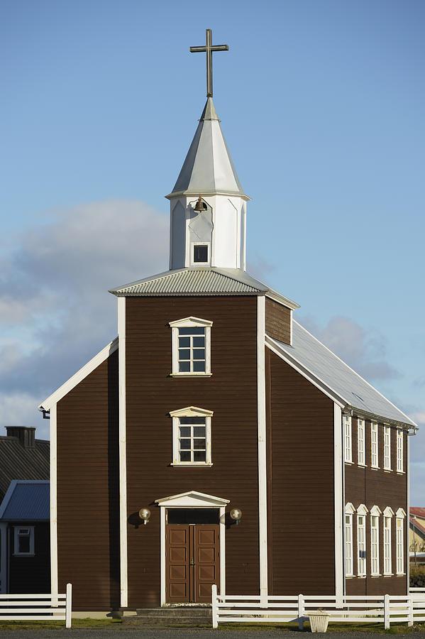 Day Photograph - Village Church Of Eyrarbakki by Michael Thornton