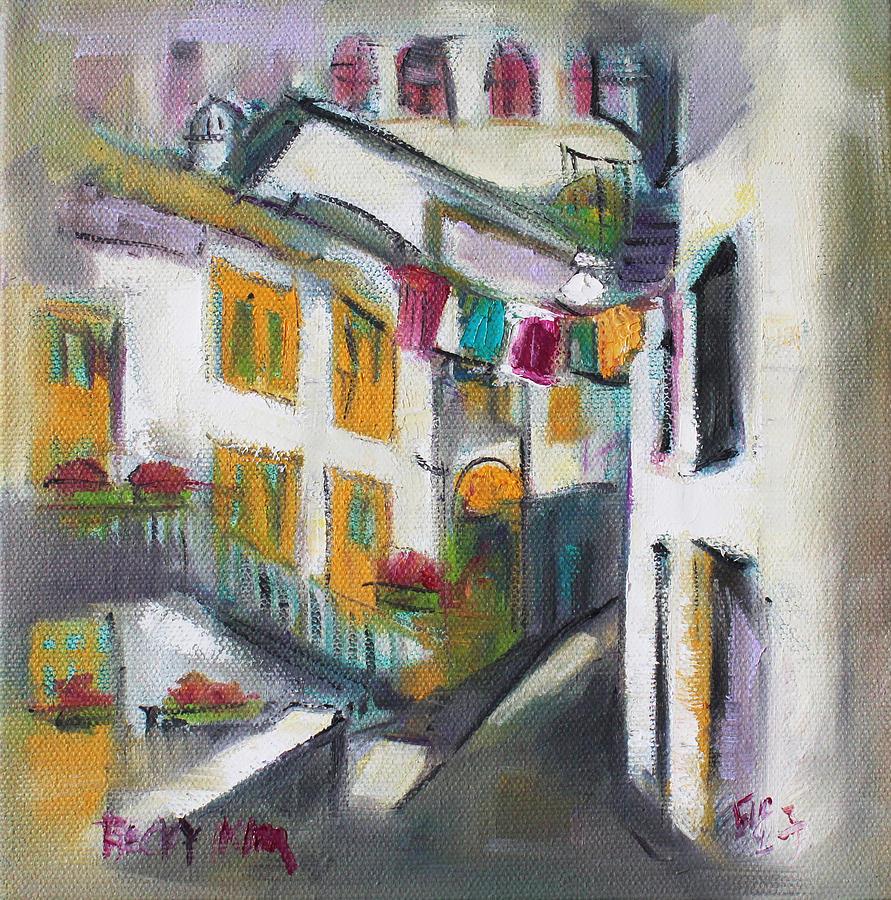 Village Painting - Village Corner by Becky Kim