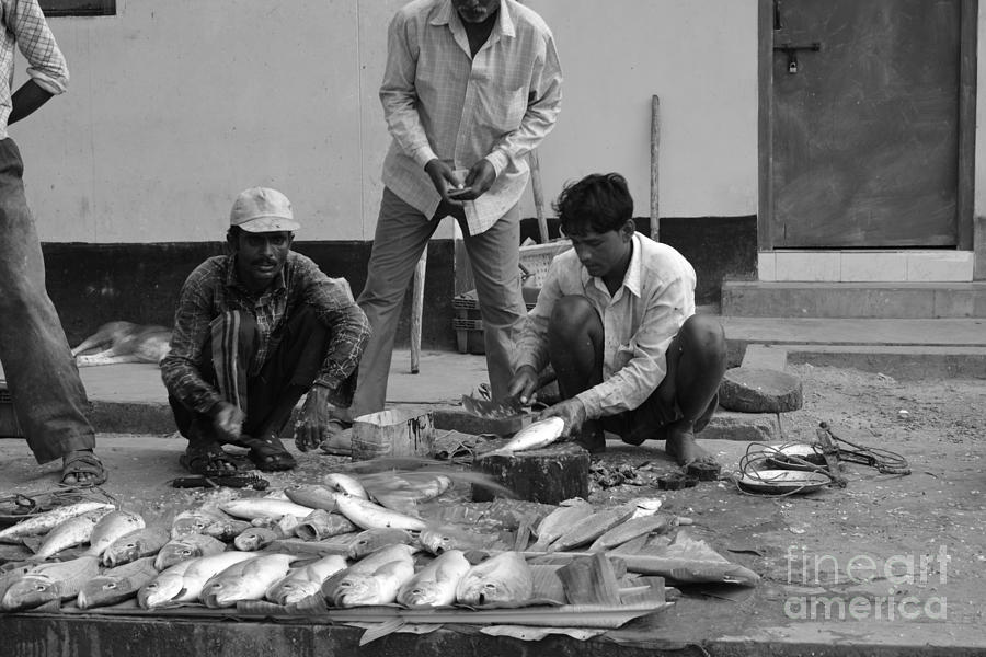 Fish Digital Art - Village Fish Market 1 by Bobby Mandal