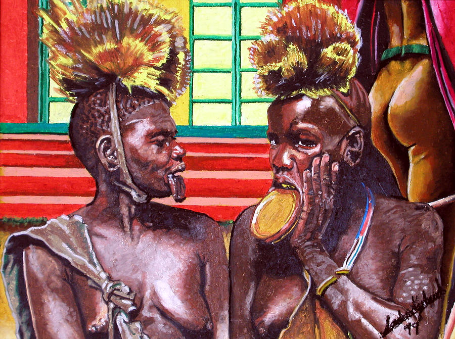 Africa Painting - Village Gossip by Andre Ajibade