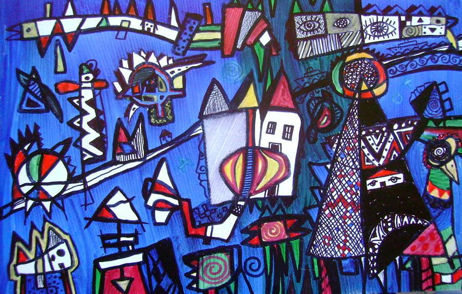 Blue Prints Drawing - Village Hidden In The Blue Eye by Branko Jovanovic