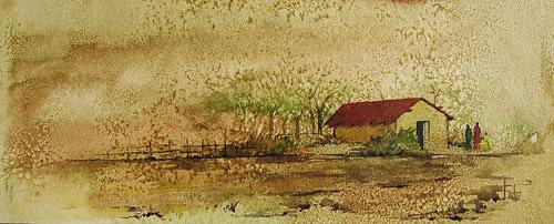 Landscape Painting - Village house by Deepali Sagade