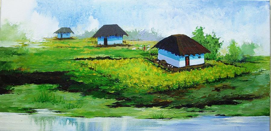 Landscape Painting - Village in MP by Deepali Sagade