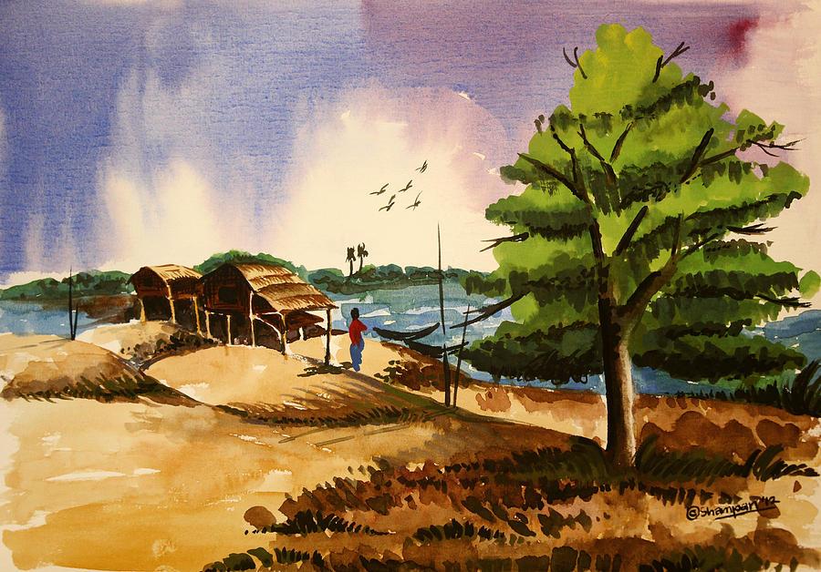 Village Landscape Of Bangladesh 2 Painting by Shakhenabat ...