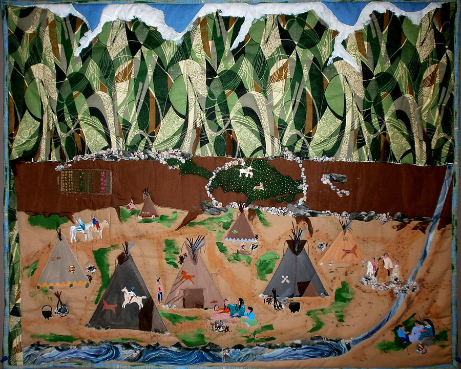 Quilts Tapestry - Textile - Village Life by Linda Egland