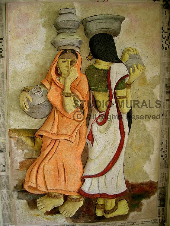 Murals Relief - Village by Milind Badve