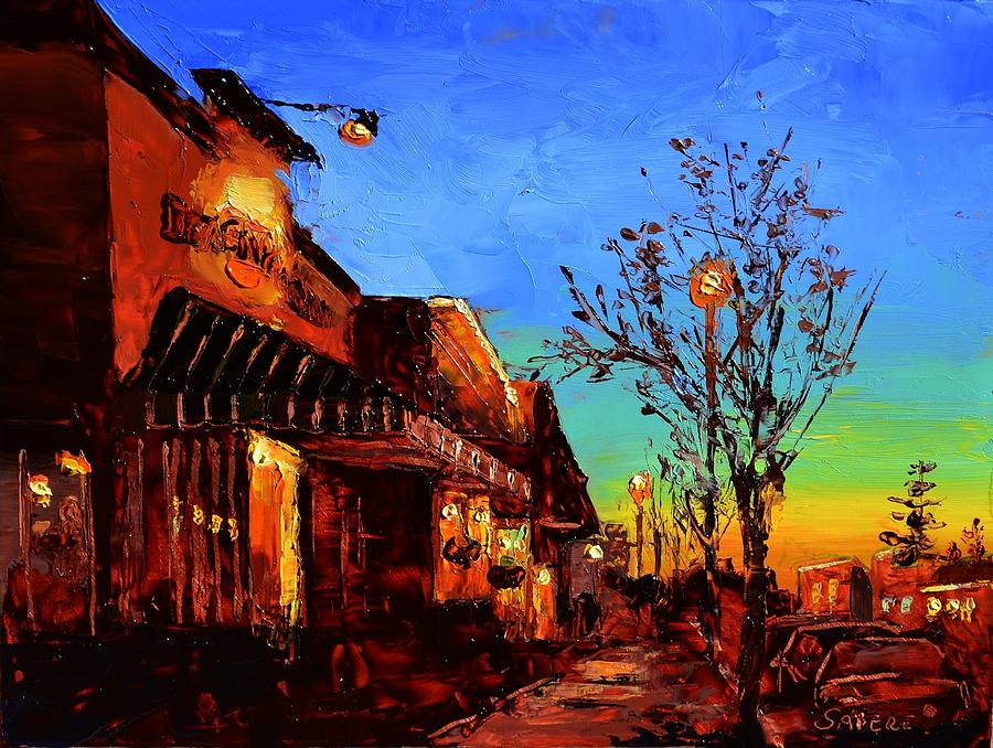 Nocturne Painting - Village Night by Lynee Sapere