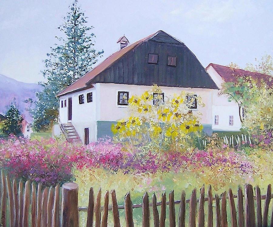 Croatian Landscape Painting - Village Of Kumrovec Croatia by Jan Matson