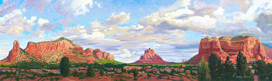 Skyline Painting - Village Of Oak Creek - Sedona by Steve Simon
