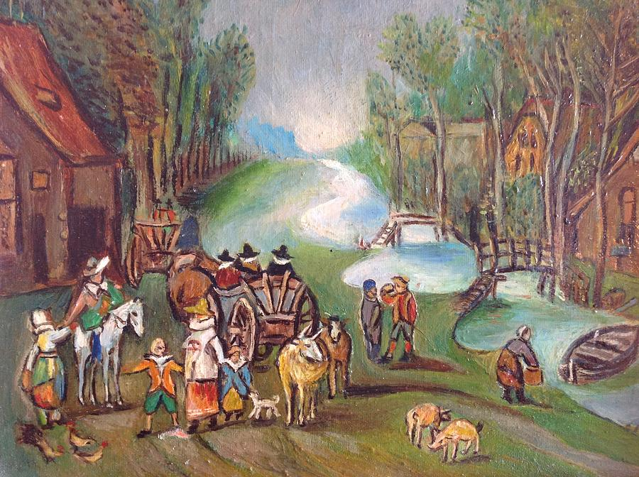 Scene Of A River By A Village With People And A Horse Pulling A Cart. Painting - Village Scene by Egidio Graziani