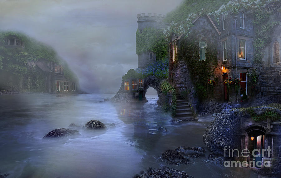 Villages Digital Art - Villages By The Foggy Sea II by Lynn Jackson