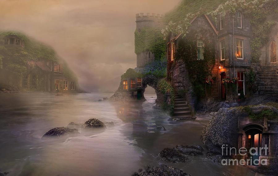 Villages Digital Art - Villages By The Foggy Sea   by Lynn Jackson
