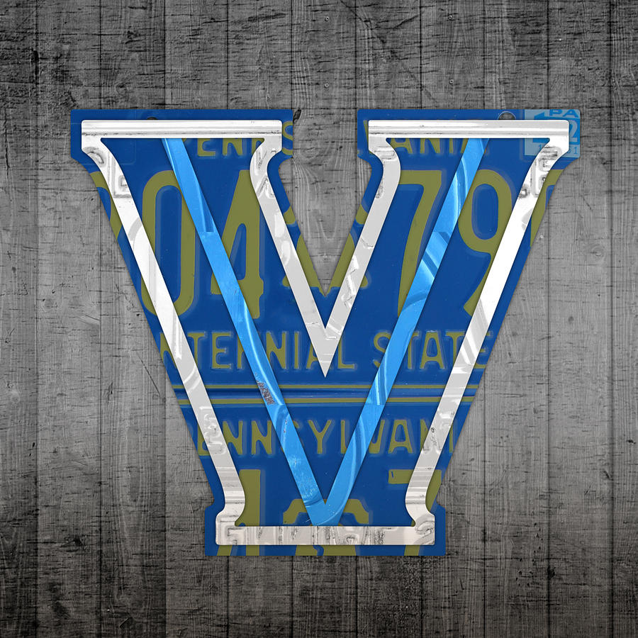 Villanova Mixed Media - Villanova Wildcats College Sports Team Retro Vintage Recycled Pennsylvania License Plate Art by Design Turnpike