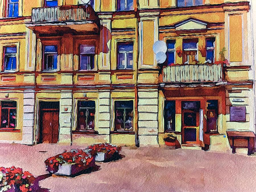 Vilnius Digital Art - Vilnius Old Town Architecture by Yury Malkov