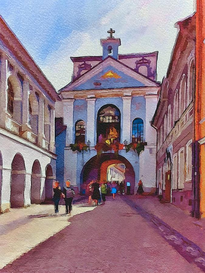 Vilnius Digital Art - Vilnius Old Town Golden Gate 1 by Yury Malkov
