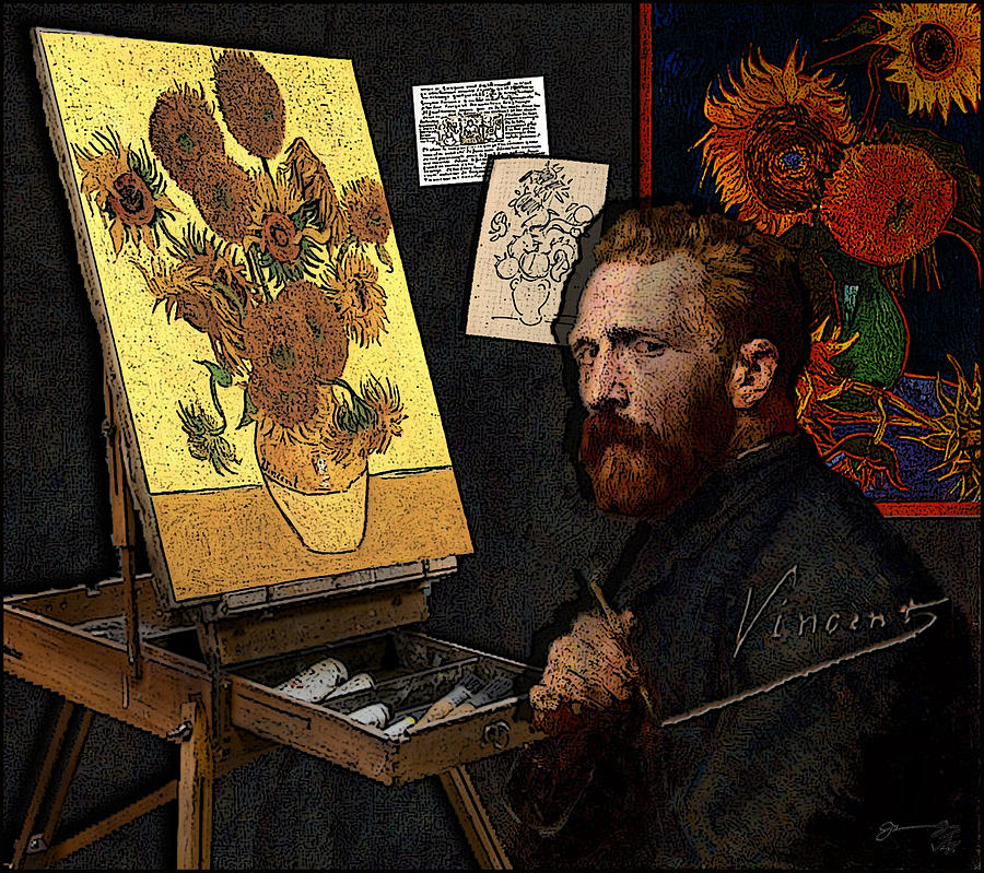 Vincent Painting The Sunflowers In His Studio At The Yellow House Drawing