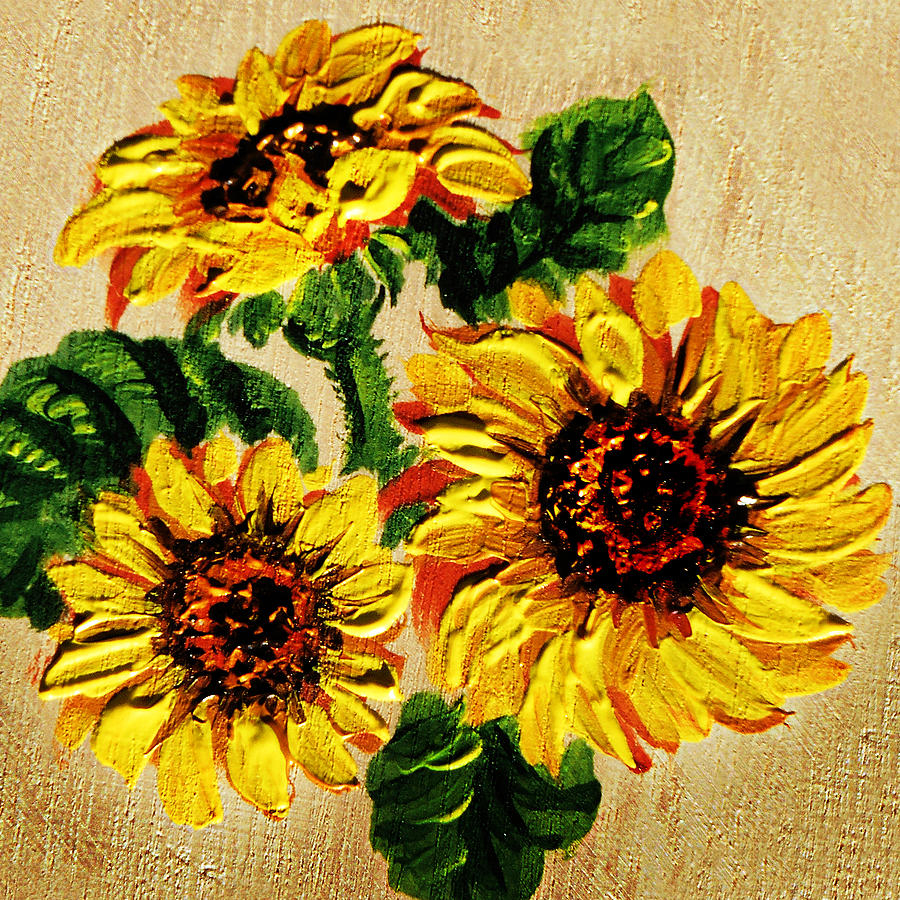 Sunflower Painting - Vincent Van Gogh Would Cry  by Irina Sztukowski
