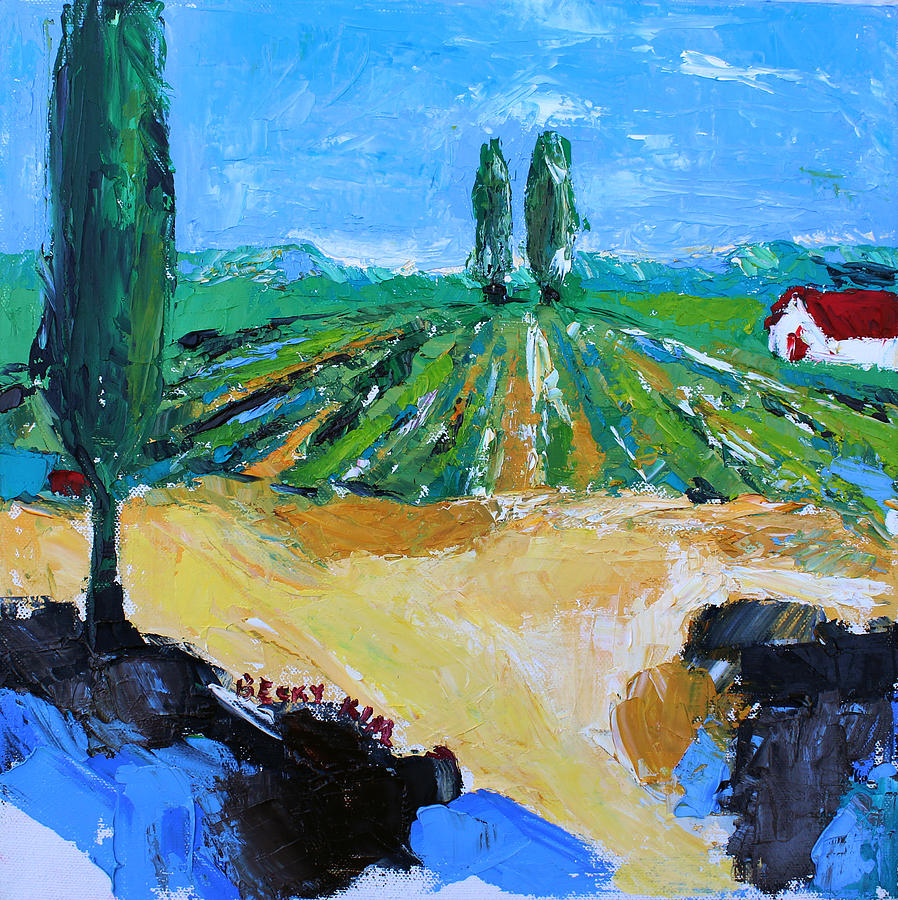 Landscape Painting - Vineyard 3 by Becky Kim