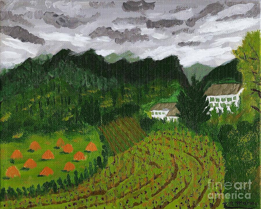 Rural Painting - Vineyard And Haystacks Under Stormy Sky by Vicki Maheu
