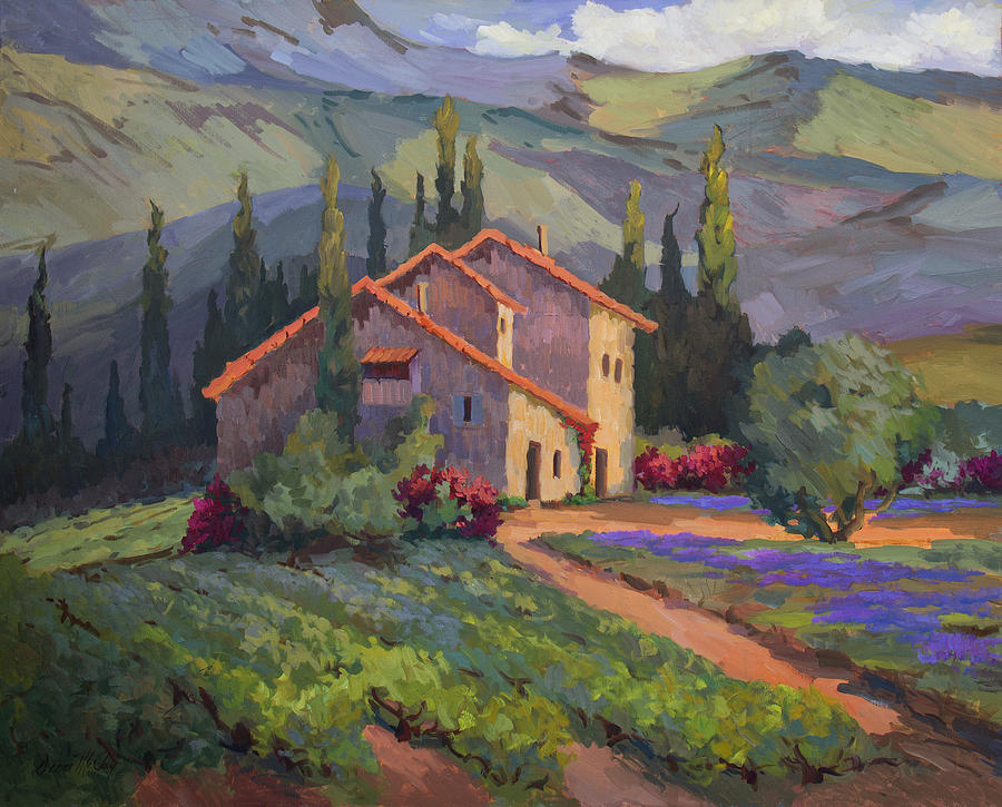 Vineyard And Lavender In Provence Painting By Diane Mcclary