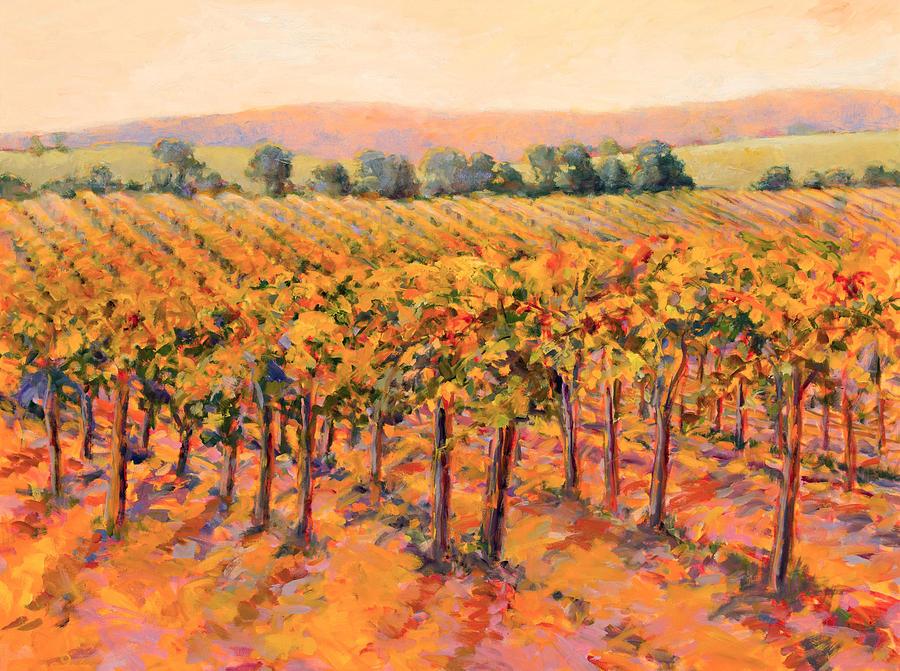 Landscape Painting - Vineyard Gold by B J  Stapen