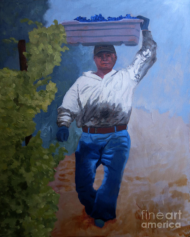 Vineyard Painting - Vineyard Harvest I by Donna Schaffer