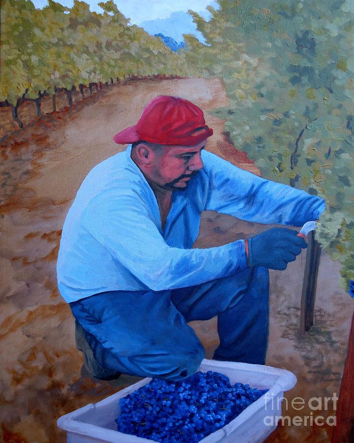 Vineyard Painting - Vineyard Harvest Iv by Donna Schaffer
