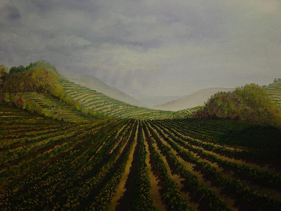Fall Painting - Vineyard by Mark Golomb