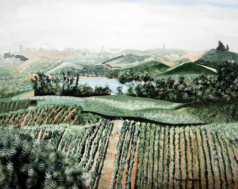 Vineyard Painting - Vineyard On A Foggy Morning by Vickie Wright